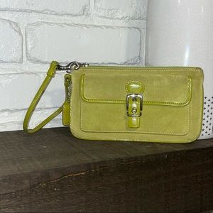 Coach Lime Green Suede Wristlet